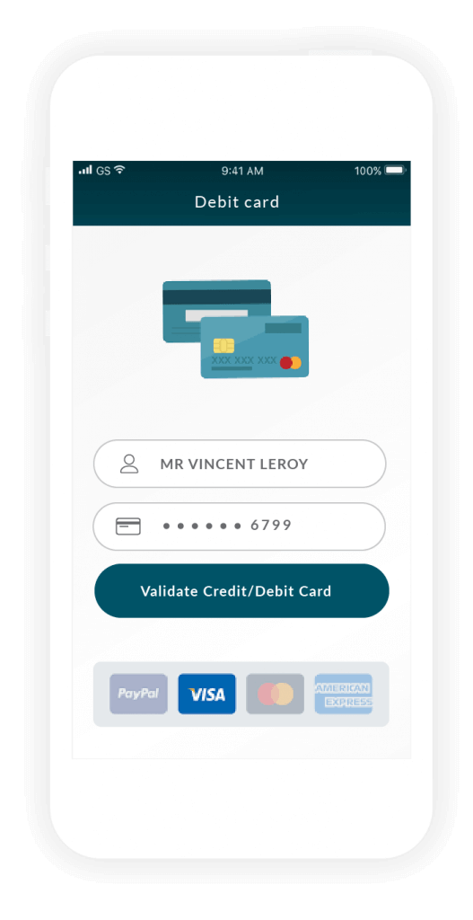 Insert your credit card in the Unbank app